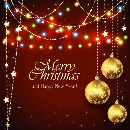 diciembre: Fondo negro con bolas de oro de Navidad y luces de colores, decoraciones de vacaciones con inscripciones Feliz Navidad y Feliz Año Nuevo, ilustración.