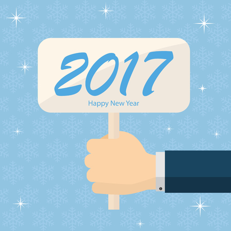 hands holding sign: New Years 2017 background with sign in the hand and snowflakes, illustration.