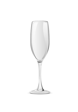 Empty champagne glass isolated on white background, illustration.