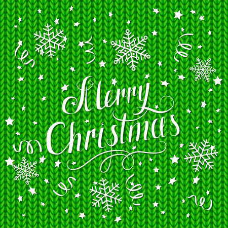 Lettering Merry Christmas with snowflakes and stars on green knitted background, illustration.