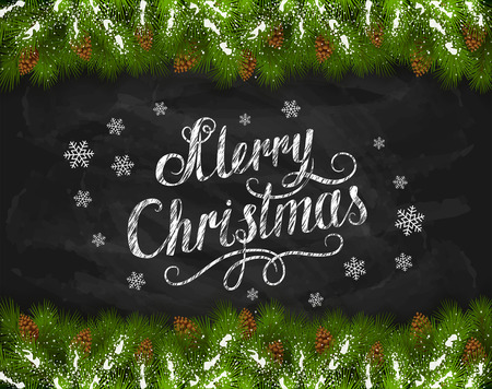 happy new year text: Lettering Merry Christmas written in white chalk with snowflakes, fir tree branches and pine cones on a black chalkboard, holiday lettering, illustration. Illustration