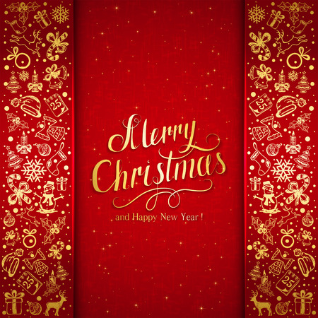 red christmas background: Golden Christmas decorative elements on red background, holiday decorations with inscriptions Merry Christmas and Happy New Year, illustration.