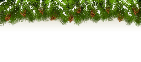 Christmas theme with holiday decorations, decorative spruce branches with pine cones and snow on a white background, illustration.
