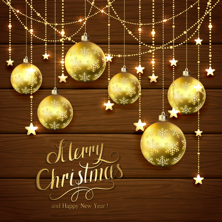 gold brown: Golden Christmas balls and decorative stars on brown wooden background, lettering Merry Christmas and Happy New Year with gold holiday decoration, illustration.