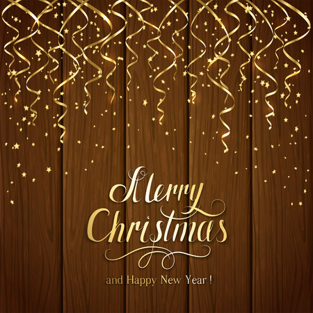 gold brown: Golden Christmas tinsel on brown wooden background, lettering Merry Christmas and Happy New Year with gold holiday decoration, illustration.