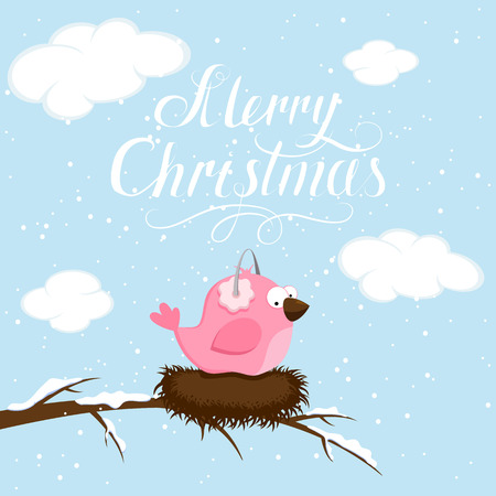 tranquil scene: Winter background with pink bird and lettering Merry Christmas, illustration.