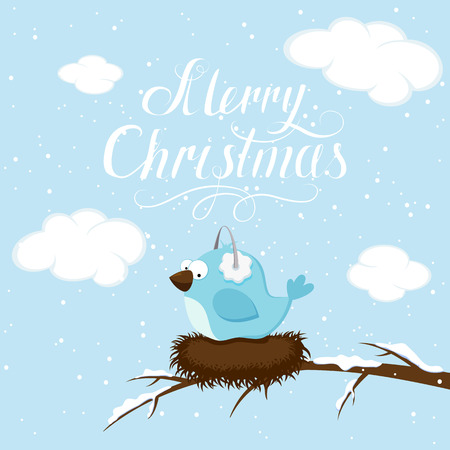 birds scenery: Winter background with blue bird and lettering Merry Christmas, illustration.