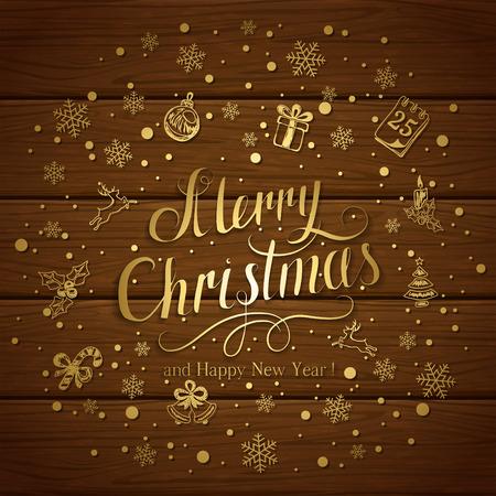 Feliz Navidad y feliz año nuevo con copos de nieve y elementos decorativos sobre un fondo de madera marrón, ilustración.