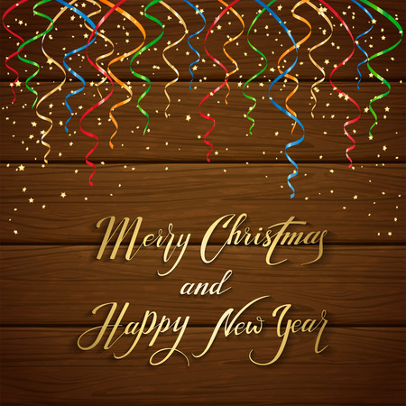 gold brown: Colorful Christmas tinsel and confetti on brown wooden background, gold lettering Merry Christmas and Happy New Year with holiday decoration, illustration.