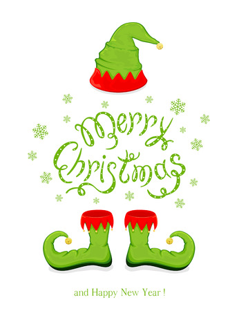 Green hat and shoes elf isolated on white background, holiday costume and lettering Merry Christmas and Happy New Year with snowflakes, illustration. Vectores