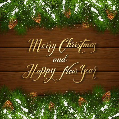 winter tree: Holiday lettering Merry Christmas and Happy New Year on brown wooden background with winter decorations, decorative spruce branches with pine cones and snow, illustration.