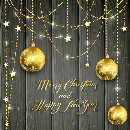 illuminated: Christmas balls and golden decorative stars on black wooden background, lettering Merry Christmas and Happy New Year with gold holiday decoration, illustration.