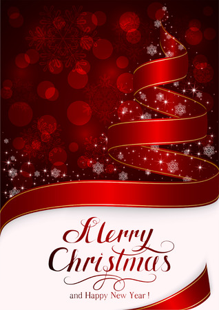 ribbon background: Red background with snowflakes and Christmas tree from ribbon, holiday decorations and lettering Merry Christmas and Happy New Year, illustration.