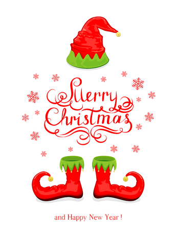 Red hat and shoes elf isolated on white background, lettering Merry Christmas and Happy New Year with snowflakes and holiday costume, illustration. Иллюстрация
