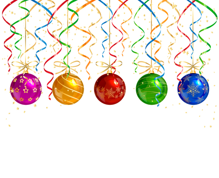 Holiday decorations with Christmas balls, colorful tinsel and golden confetti on white background, illustration.