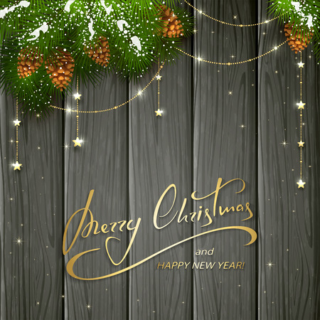 gold textured background: Holiday lettering Merry Christmas and Happy New Year on black wooden background with winter decorations, decorative spruce branches with snow, pine cones and golden Christmas stars, illustration.