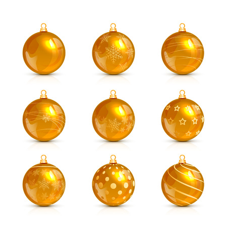 Set of decorative golden Christmas balls with holiday pattern, isolated on white background, illustration. Illustration