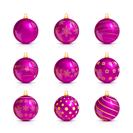 shine: Set of decorative pink Christmas balls with golden holiday pattern, isolated on white background, illustration.