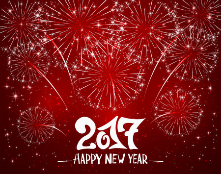 inscription: Lettering Happy New Year 2017 and sparkling fireworks on red shiny background, holiday greeting, illustration.