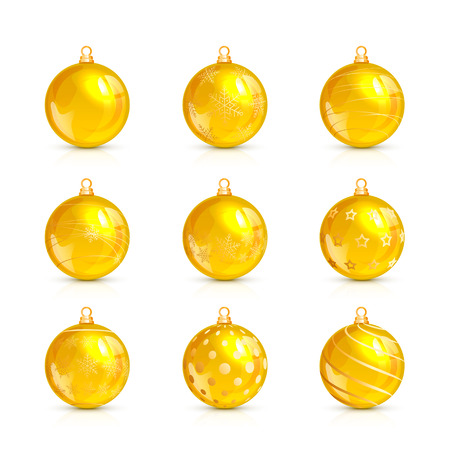 shine: Set of decorative yellow Christmas balls with golden holiday pattern, isolated on white background, illustration. Illustration