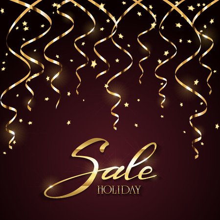 christmas celebration: Gold lettering Holiday Sale with shine holiday decoration, golden tinsel and confetti on black background, illustration.