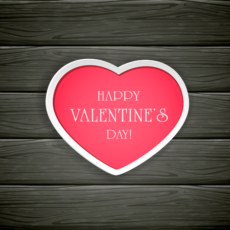 黒の木製の背景、イラストに幸福なバレンタインデーをレタリングとピンクの紙のハート。