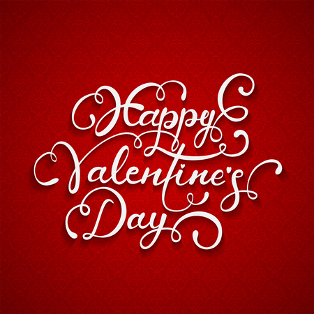 st valentin's day: White lettering Happy Valentines Day with hearts on red ornate background, illustration.