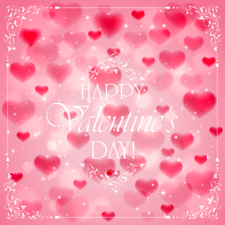 st valentin's day: Pink Valentines background with hearts and ornate elements, white lettering Happy Valentines Day, illustration.