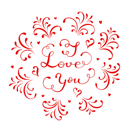 st valentins day: Red lettering I Love You on white background with hearts and ornate elements, Valentines day background, illustration.