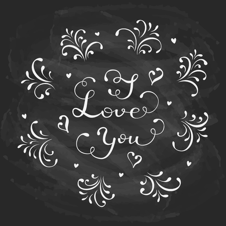 st valentin's day: Lettering I Love You written in white chalk on a black chalkboard, holiday greetings with hearts and decorative elements, illustration. Illustration