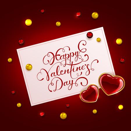 st valentin's day: Valentines card with lettering Happy Valentines Day and glittering hearts on red background, illustration. Illustration