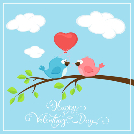 Valentines background with two loving birds on the branch and red balloon in the form of heart, holiday lettering Happy Valentines Day, illustration.