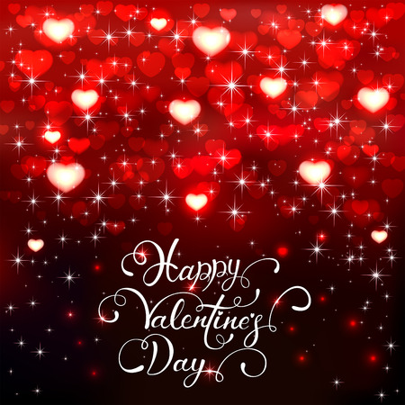 shiny background: Dark background with shiny red hearts and stars, holiday lettering Happy Valentines Day, illustration.