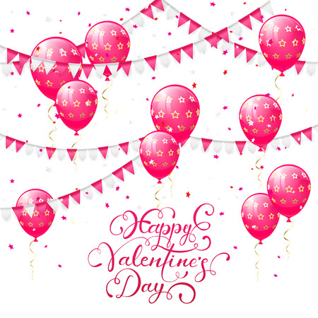st valentin's day: Valentines background with pink balloons, pennants and confetti, lettering Happy Valentines Day, illustration.