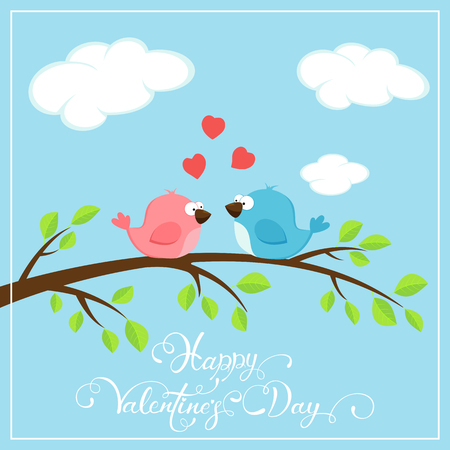 Valentines background with red hearts and two loving birds on the branch, holiday lettering Happy Valentines Day, illustration.