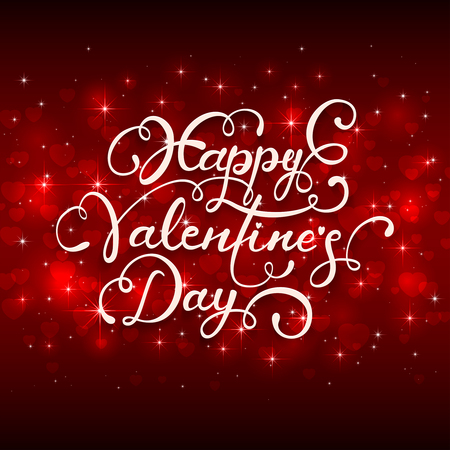 st valentin's day: Red holiday background with Valentines hearts and lettering Happy Valentines Day, illustration. Illustration