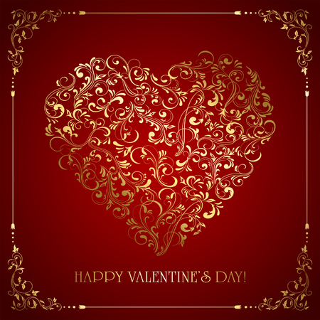 st valentines day: Valentines card with golden heart from ornate elements on red background, lettering Happy Valentines Day, illustration.
