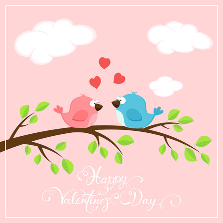 st valentins day: Valentines pink background with red hearts and two loving birds on the branch, holiday lettering Happy Valentines Day, illustration. Illustration