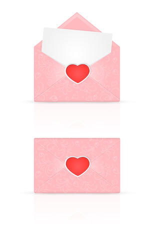 st valentins day: Pink envelopes with red Valentines heart and ornate elements, holiday lettering Happy Valentines Day, illustration.