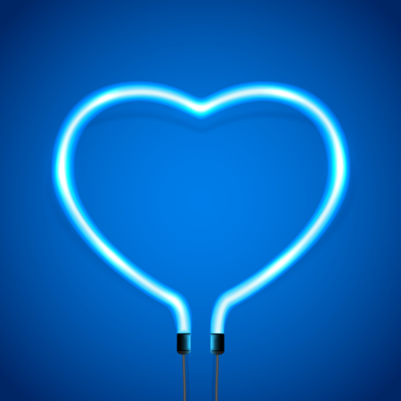 Glowing neon heart on blue background, decoration for Valentines Day, illustration.