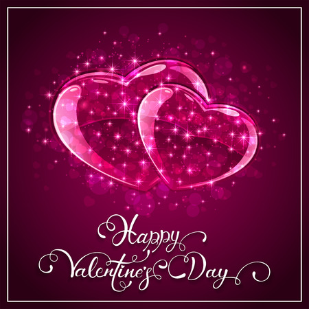 st valentin's day: Pink Valentines background with hearts and stars, holiday lettering Happy Valentines Day, illustration. Illustration