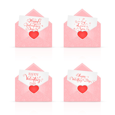 st valentins day: A set of open pink envelopes with red Valentines heart and ornate elements, holiday lettering Happy Valentines Day and I Love You, illustration. Illustration