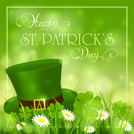 Patricks Day background with clover and hat of leprechaun in grass, holiday lettering Happy St. Patricks Day, illustration.