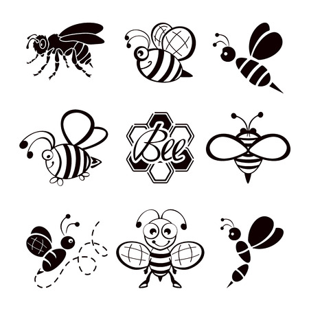 Set of black bee icons isolated on white background, illustration.
