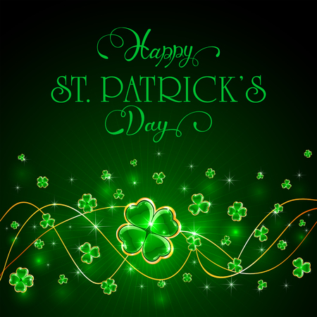 Green Patricks Day with glittering clover and holiday lettering Happy St. Patrick's Day, illustration.