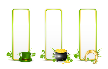 Patricks Day banners on white background with green hat of leprechaun, golden horseshoe, clover and pot of gold, illustration.