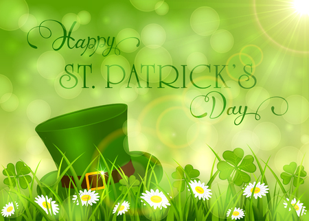 Sunny with clover and hat of leprechaun in grass, holiday lettering Happy St. Patricks Day, illustration.