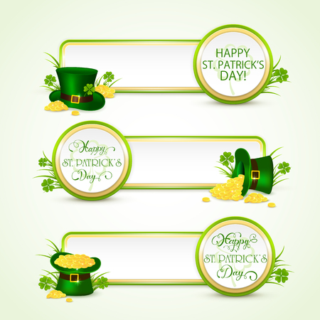 st: Holiday banners on white background with green hat of leprechaun, clover and golden coins, lettering Happy St. Patricks Day, illustration. Illustration