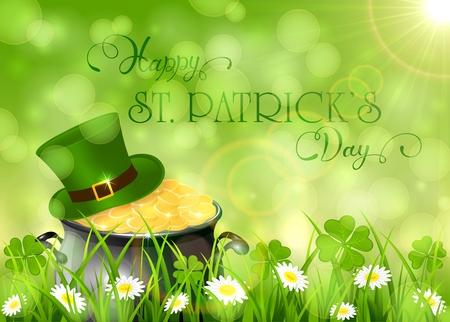 Sunny background with clover and cauldron with gold leprechauns in grass, holiday lettering Happy St. Patricks Day, illustration.