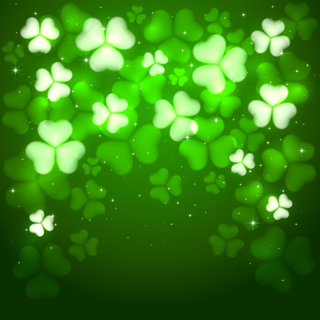 irish culture: Green background of St. Patricks Day with glittering clovers and stars, illustration.